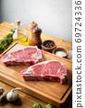 raw steak meat on cutting board in bright kitchen 69724336