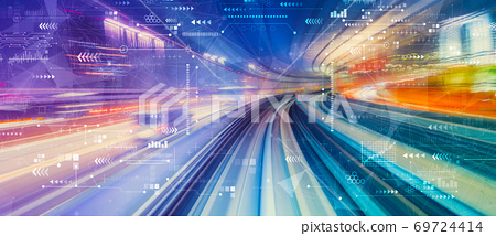 Technology screen with high speed motion blur 69724414