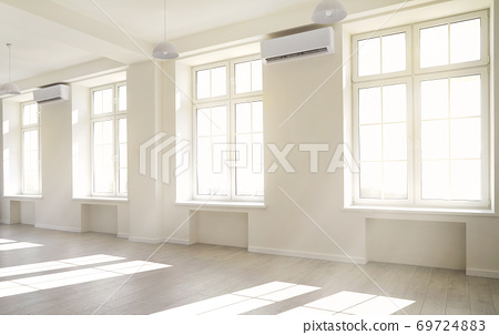 Empty light white room with window with sunlight. 69724883