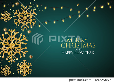 Holiday New Year and Merry Christmas Background with realistic Christmas tree. Vector Illustration 69725657