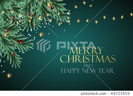 Holiday New Year and Merry Christmas Background with realistic Christmas tree. Vector Illustration 69725659