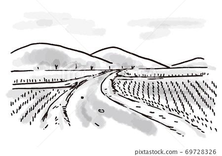 插圖的稻田和山脊在農村與濃香的味道 69728326