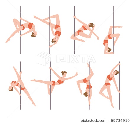 Pole dance performer female characters set, flat vector illustration isolated. 69734910