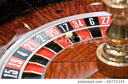 Roulette wheel in casino, gambling ad 69735345