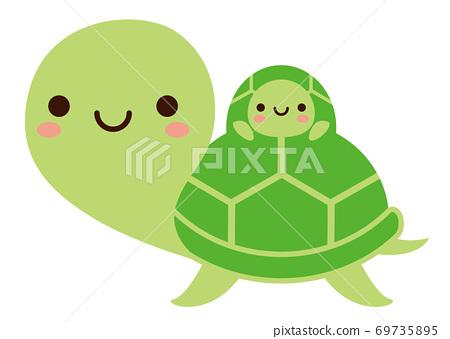 可愛的小烏龜和父母烏龜 69735895