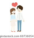 Illustration of a good couple and a heart 69736054