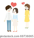 Illustration of a woman who has a broken heart with a lovely couple 69736065