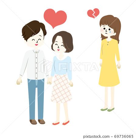러브 러브 커플과 실연하는 여자 일러스트 69736065
