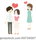 Illustration of a woman who has a broken heart with a good couple 69736067