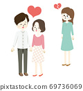 Illustration of a good man and woman and a crying woman 69736069