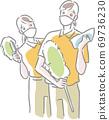 兩名清潔工用口罩,衣服和輕便的拖把 69736230