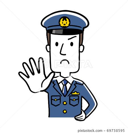 插圖材料:年輕男性警務人員,禁止進入 69738595