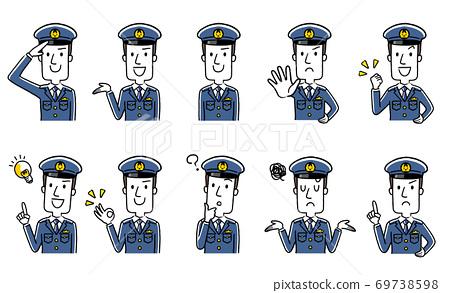插圖素材:年輕男性警官,套裝,收藏 69738598