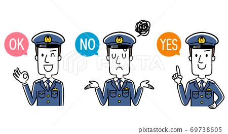 插圖材料:回答問題的年輕男警官 69738605
