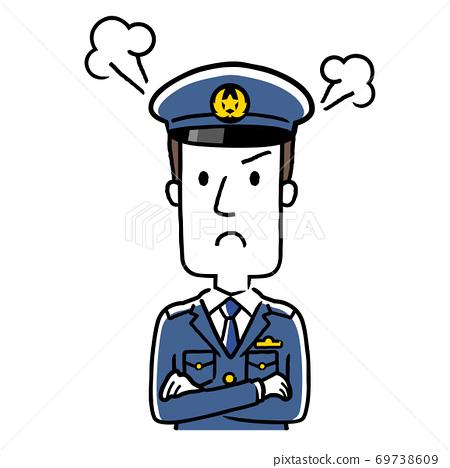 插圖材料:年輕的男警察生氣 69738609