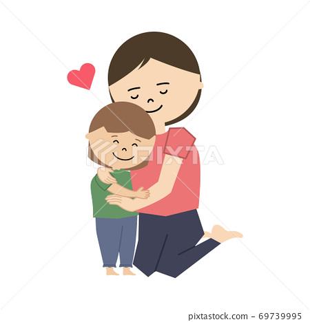 一個女孩和一個女人擁抱的插圖 69739995