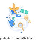 Auditing and business analysis concept,auditing tax process,flat design icon vector illustration 69740615