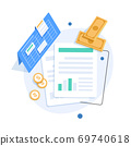 Auditing and business analysis concept,auditing tax process,flat design icon vector illustration 69740618