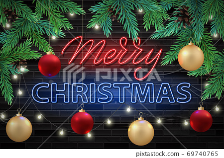 Merry Christmas greeting card or banner, website. Neon letters effect 69740765