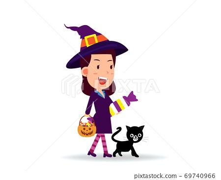 Female celebrate halloween wears witch costume. Happy Halloween Day 69740966