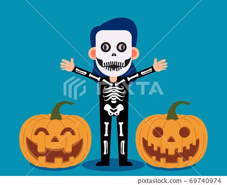 Female celebrate halloween wears skeleton costume. Happy Halloween Day 69740974