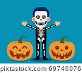 Male celebrate halloween wears skeleton costume. Happy Halloween Day 69740976