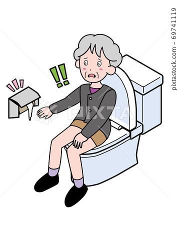 一位沒有廁紙不耐煩的老太太 69741119