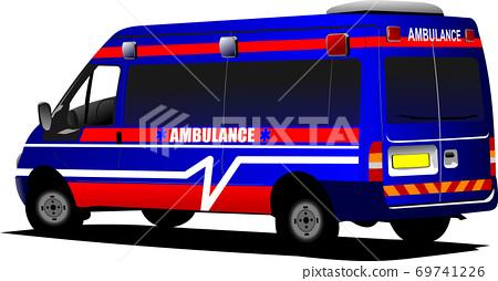 Modern ambulance van over white. Colored illustration 69741226