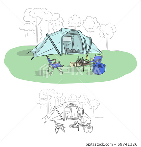 camp with chairs and table in forest vector illustration sketch doodle hand drawn with black lines isolated on white background 69741326