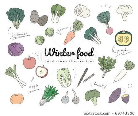 手繪冬季蔬菜插圖集/簡單/時尚/食品/配料/季節/水果/水果 69743500