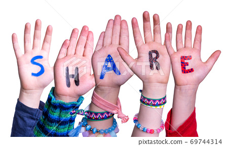 Children Hands Building Word Share, Isolated Background 69744314