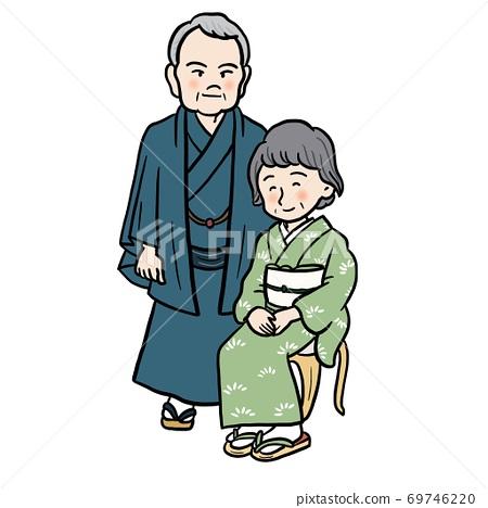 穿著和服的高級男女插圖素材 69746220