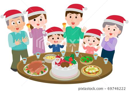三代家庭舉行聖誕晚會的插圖 69746222