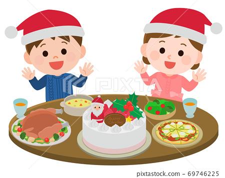 크리스마스 파티를 어린이 잔치 일러스트 69746225