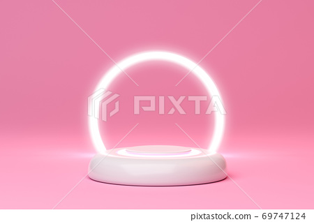 Minimal stage with podium and light circle pink background, geometric shapes. 3D rendering. 69747124