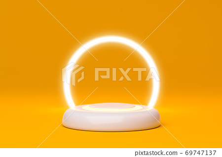 Minimal stage with podium and light circle orange background, Geometric shapes. 3D rendering. 69747137