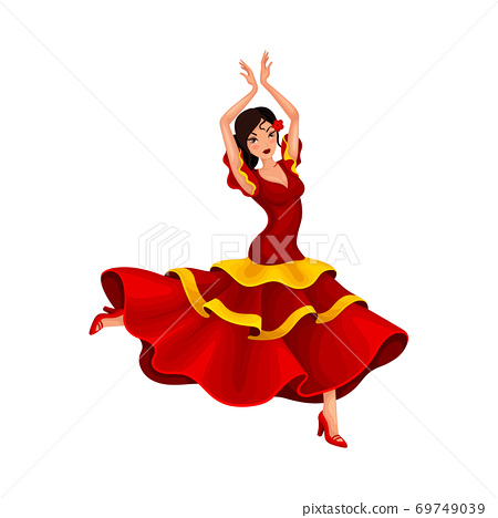 Young Woman in Bright Red Dress Dancing Flamenco Vector Illustration 69749039