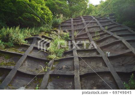 陡峭的山坡上的塊和豐富的自然 69749845