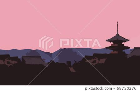 京都古城的背景 69750276