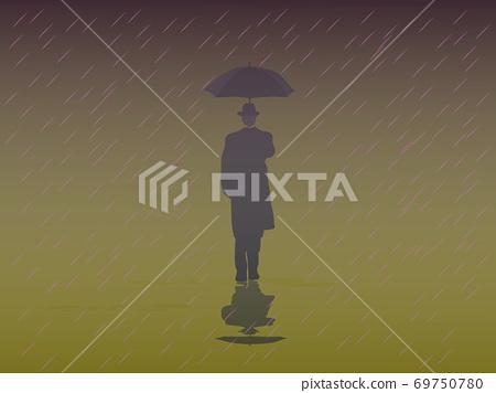 Men's Trench Coat An umbrella walking in the rain 69750780