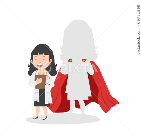 Super doctor Woman vector concept cartoon 69751269