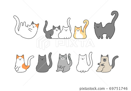 各種貓的簡單,時尚插圖 69751746