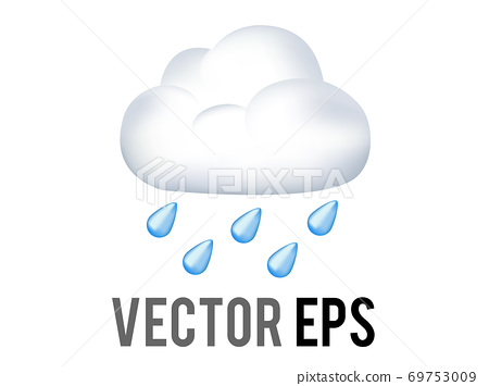 The isolated vector blue raindrops falling from white cloud icon 69753009