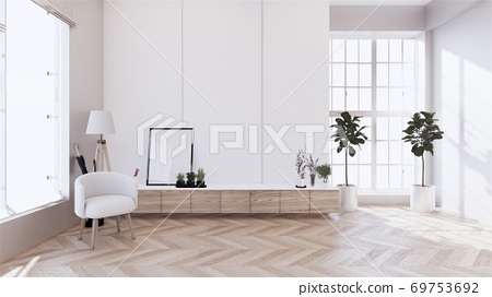 cabinet wooden with on white wall and wooden floor, tropical interior  living room. 3d rendering 69753692
