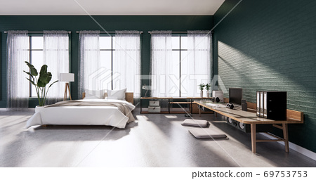 Bedroom interior loft style with frame on green wall brick. 3D rendering 69753753