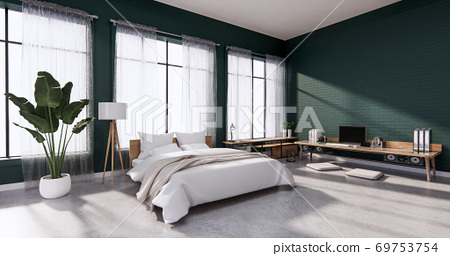Bedroom interior loft style with frame on green wall brick. 3D rendering 69753754