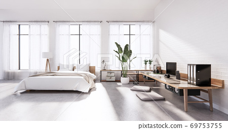 Bedroom interior loft style with Computer and office tool on desk. 3D rendering 69753755