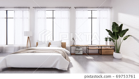 Bedroom interior loft style white wall brick. 3D rendering 69753761