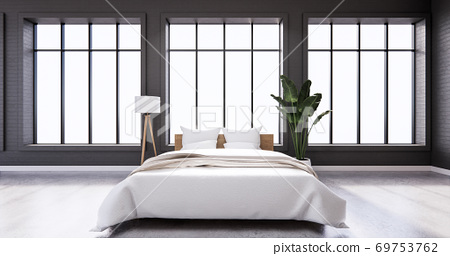 Bedroom interior loft style with frame on black wall brick. 3D rendering 69753762