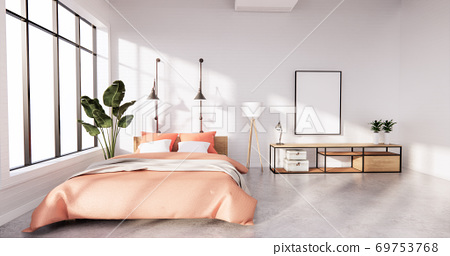 Bedroom interior loft style with frame on white wall brick. 3D rendering 69753768